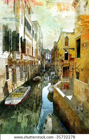 pictorial Venetian streets - artwork in painting style - stock photo