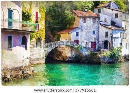 Pictorial village Nesso in Lago di Como - artistic picture - stock photo