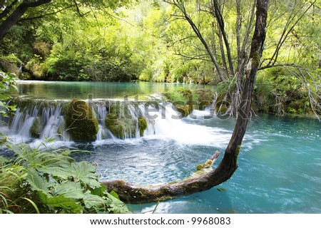 pictorial waterfall - stock photo