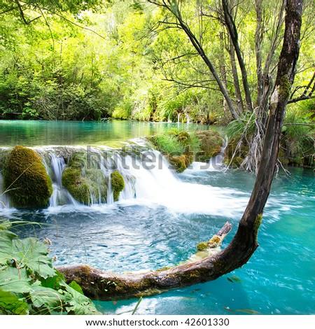 pictorial  waterfalls - stock photo