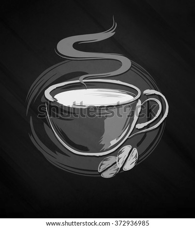 Picture a cup of coffee on a black background