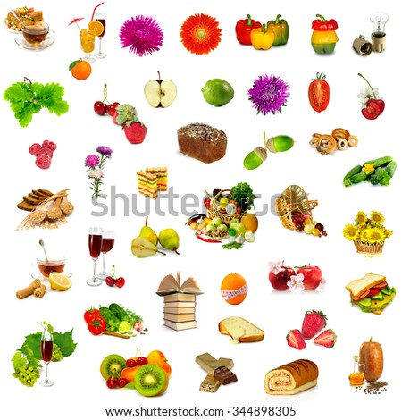 picture a lot of fruit, vegetables and various objects