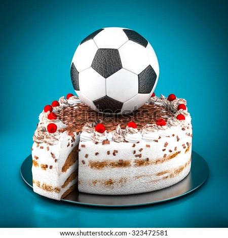 Picture a soccer ball on blue background - stock photo
