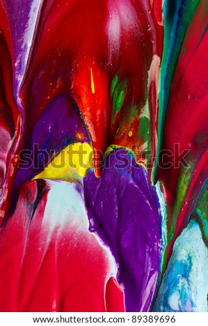 Picture, abstract painted canvas as multicolor background - stock photo