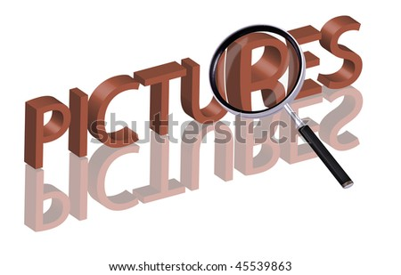 picture album pictures icon pictures button search pictures Magnifying glass enlarging part of red 3D word with reflection - stock photo