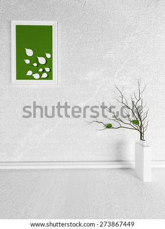 picture and the vase in the room - stock photo