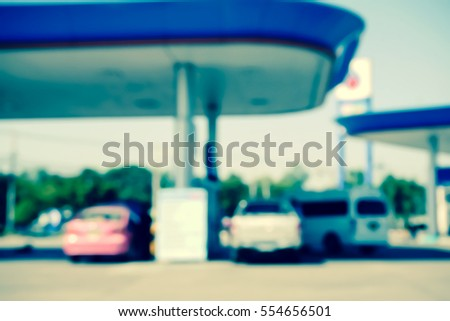 Picture blurred  for background abstract and can be illustration to article of Petrol station and Gas station