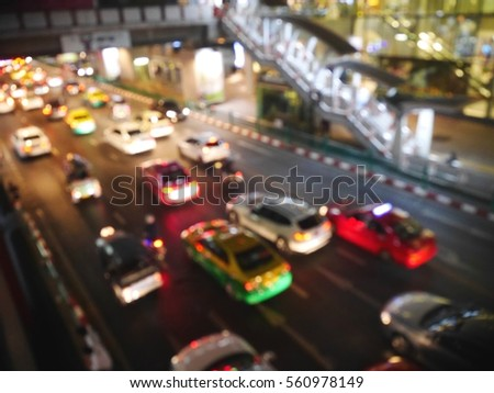 Picture blurred  for background abstract and can be illustration to article of The car on the road at night