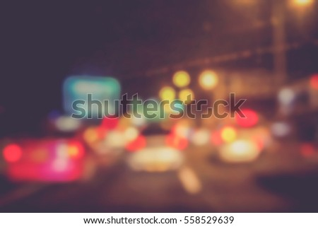 Picture blurred  for background abstract and can be illustration to article of traffic in night