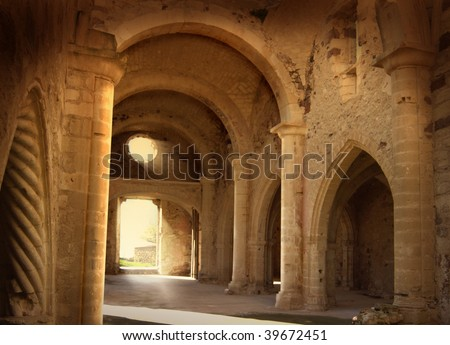 picture caught in sardinia. subject show an interior of a ruined ancient italian church romanic style - stock photo