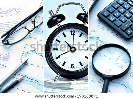 Picture collage of office work and contemporary business - stock photo