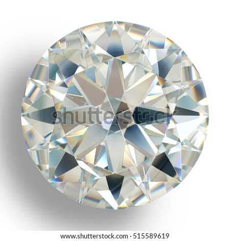 Picture diamond jewel on white background. Beautiful sparkling shining round shape emerald image with reflective surface. High quality real 3D render brilliant jewelry stock image.