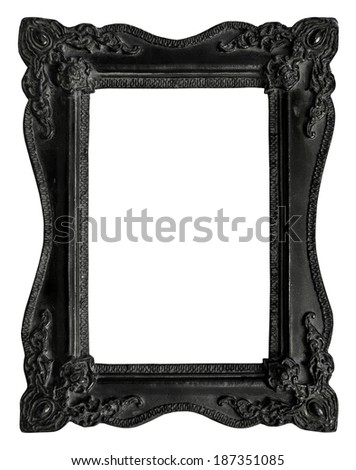 Picture frame black wood frame in white background, clipping path - stock photo