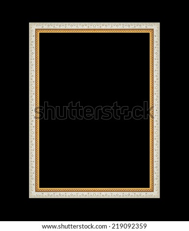 Picture frame carved wood frame Isolated on black background - stock photo
