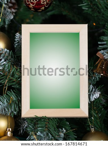 Picture frame christmas background - stock photo