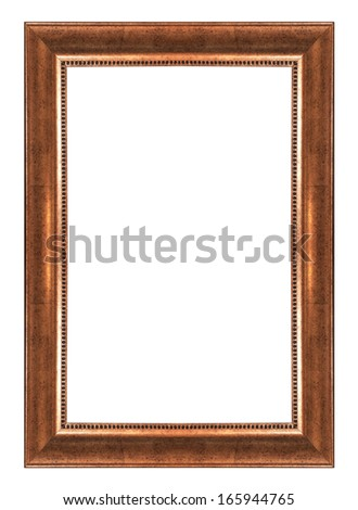 Picture frame gold  isolated on white background - stock photo
