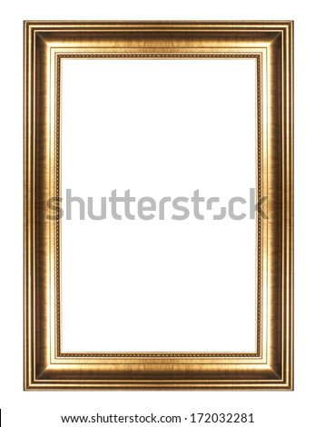 Picture frame gold  wood frame in white background. - stock photo