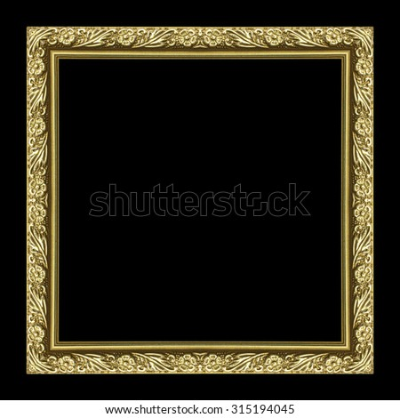 picture frame Golden wooden Carved pattern isolated on a black background. - stock photo
