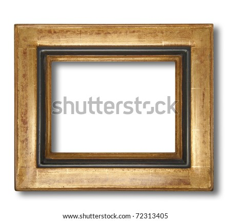 Picture frame in gold leaf with beveled center, isolated with shadow and clipping path - stock photo