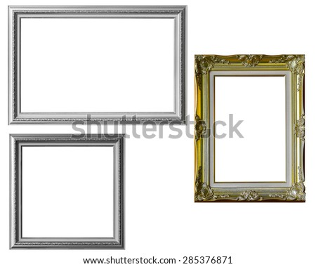 Picture frame in silver and gold isolated on white background - stock photo