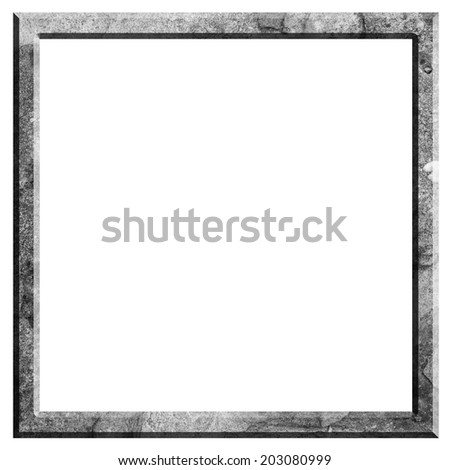 Picture frame in stone texture on black and white color