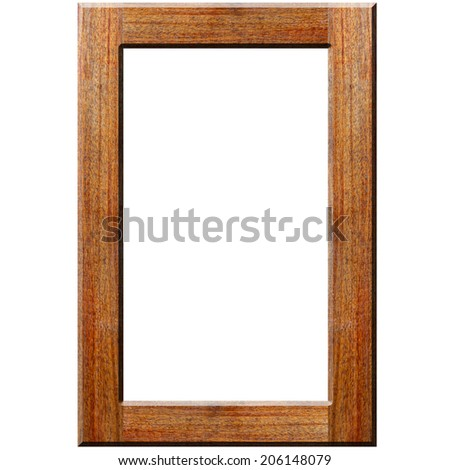 Picture frame in Wood texture on white background