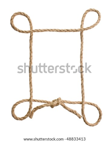 picture frame of rope isolated on a white background - stock photo