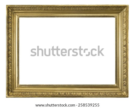Picture frame Old antique isolated on white with 2 clip paths outside and inside - stock photo