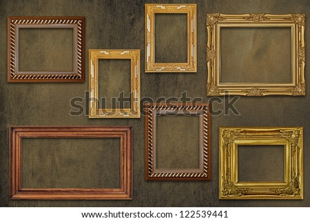 Picture frame on old wall