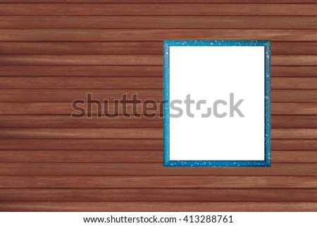picture frame on vintage wood wall - stock photo