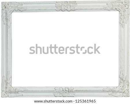 Picture frame, painted white. Isolated patch and over white background - stock photo