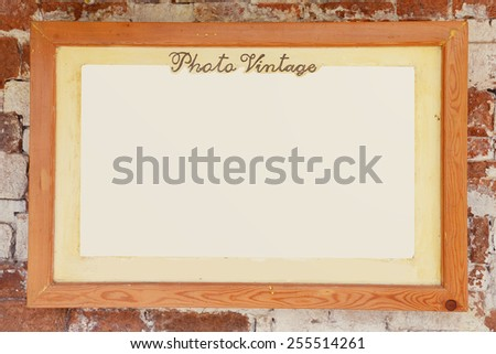 Picture frame. Photo art gallery on vintage wall. - stock photo