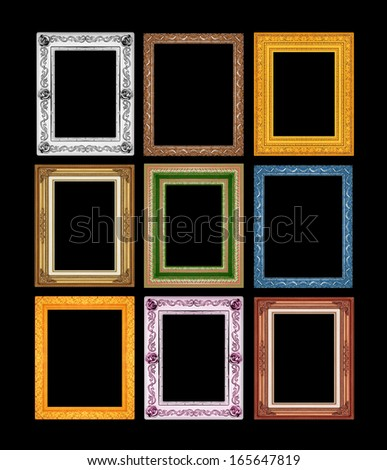 picture frame set ancient vintage isolated on black background. - stock photo