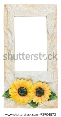 picture frame, stone plated and sunflower on white background - stock photo
