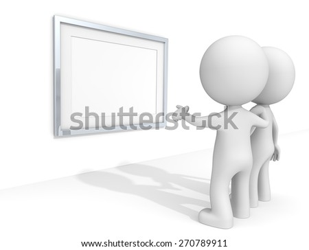 Picture Frame. The dude 3D characters at the Gallery pointing at Blank Metal Frame - stock photo