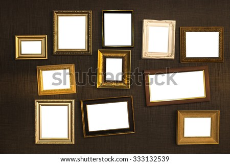 Picture frame vector. Photo art gallery on vintage wall. - stock photo