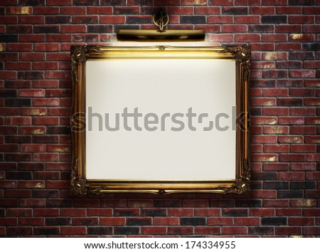 Picture frame with blank canvas hanging on a brick wall in art museum - stock photo