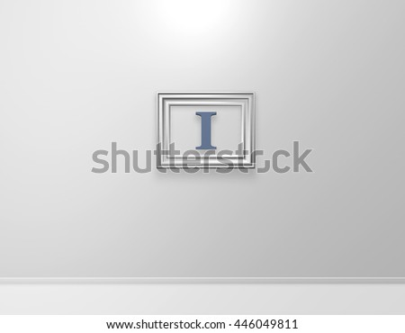picture frame with letter i on white wall - 3d illustration - stock photo