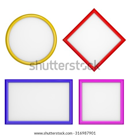 Picture Frames Different Shape Collection Isolated on White Background 3D Illustration - stock photo