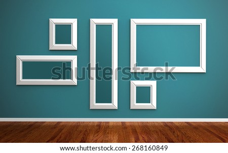 picture frames on blue wall and wood floor 3d render. frames clipping path included