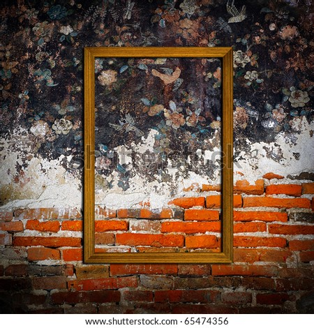 picture frames on concrete wall and painted wall - stock photo