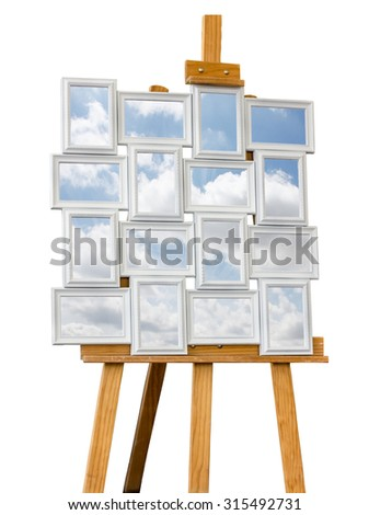 Picture frames with clouds - stock photo