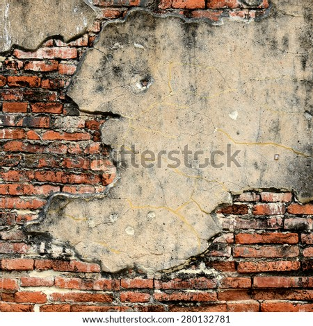 Picture from world heritage Ayutthaya site, Old red brick textured wall