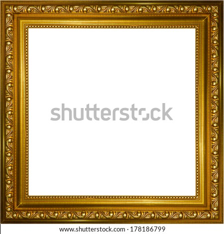picture gold frame isolated on white background
