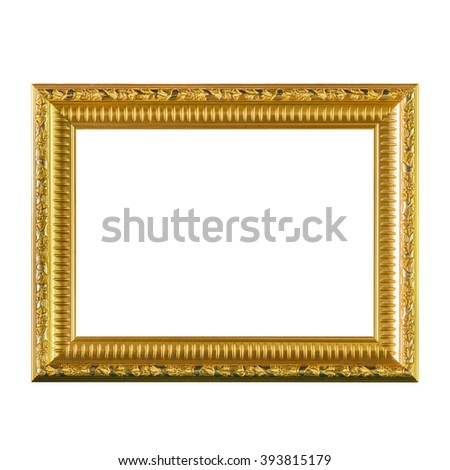 Picture gold frame isolated on white background. - stock photo