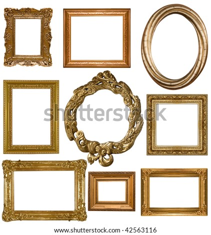 picture gold frame on a white - stock photo