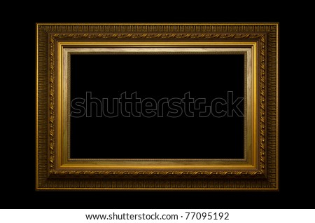 Picture gold frame with a decorative pattern on a black