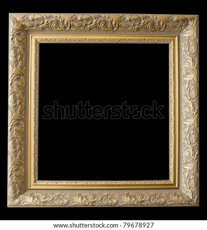 Picture gold frame with a decorative pattern on a black - stock photo
