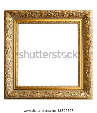 Picture gold frame with a decorative pattern on a white - stock photo