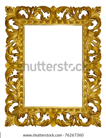 Picture gold frame with beautiful carving - stock photo